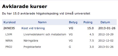 Kost vid träning